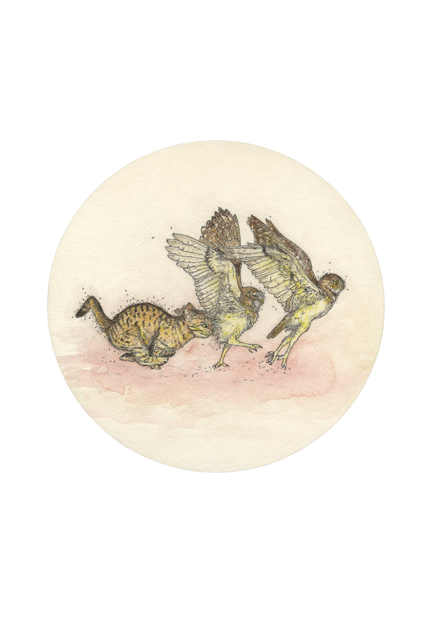 Image of Kitten Running with Owls giclee print