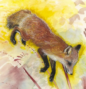 Cemetery Fox and Crows giclee print