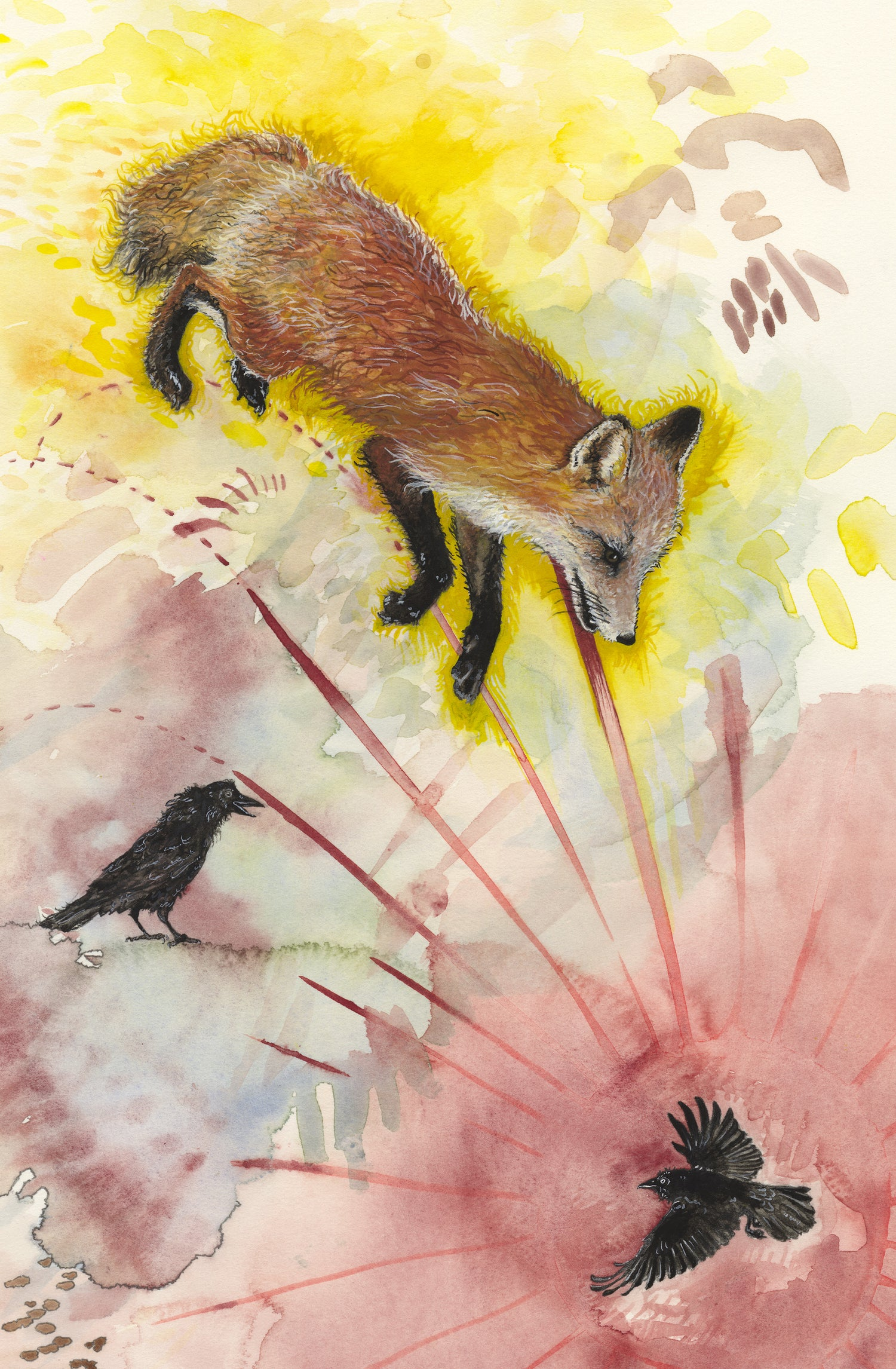 Image of Cemetery Fox and Crows giclee print