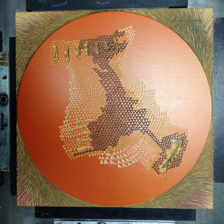 "Image of ""Planet 1"" Linoleum Relief Print"