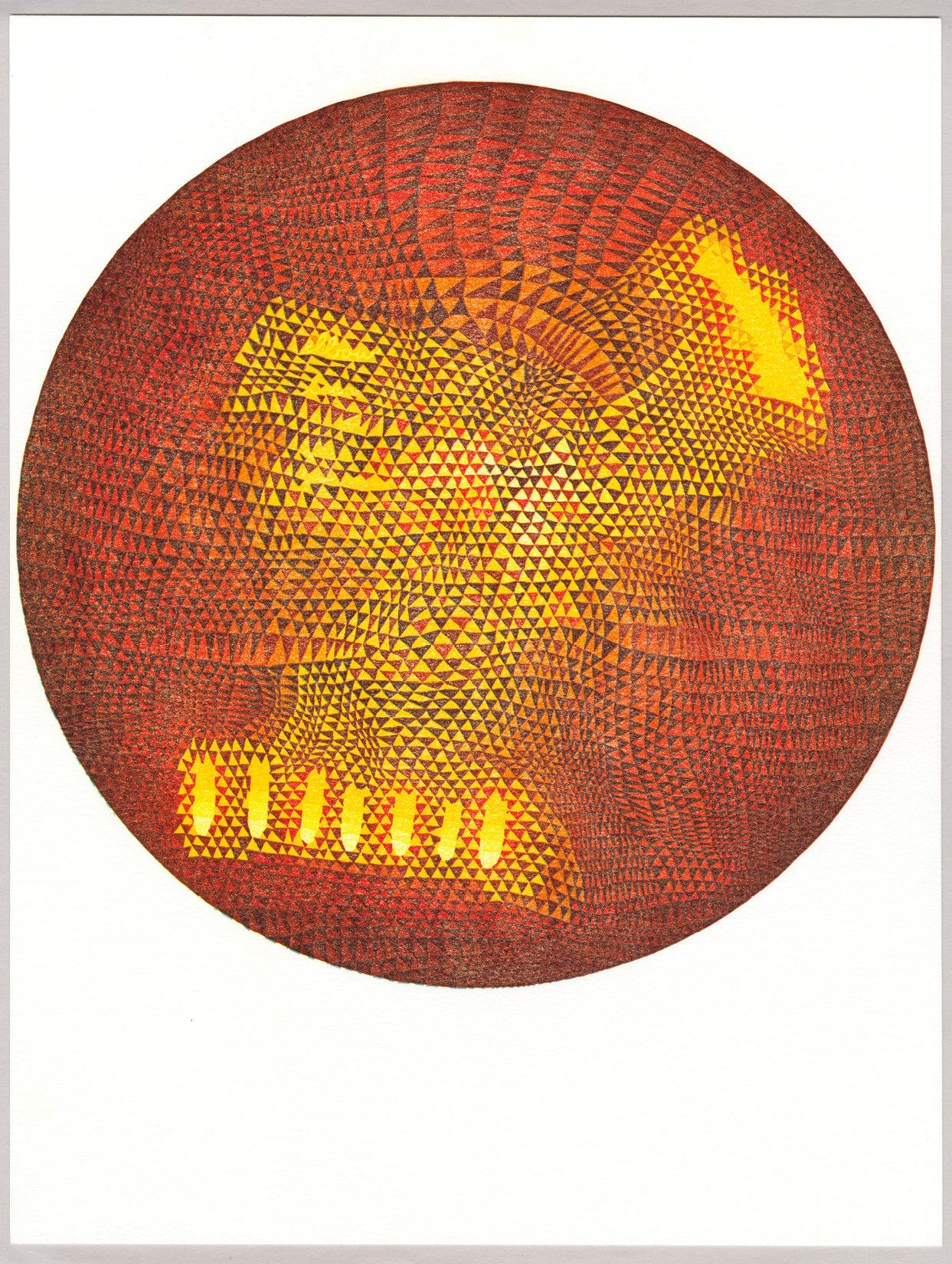 """Planet 1"" Linoleum Relief Print"