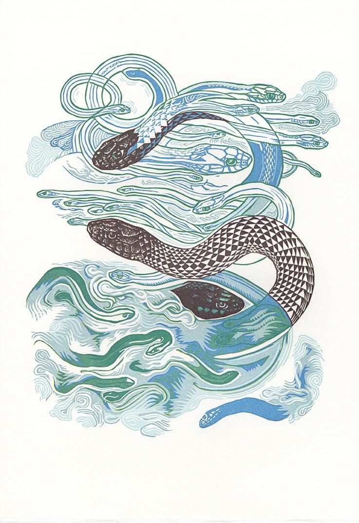"""""""Sky Snakes A"""" Linoleum Relief Print"""