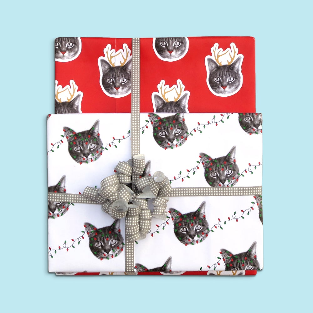 Image of gee whiskers series: holiday wrapping paper - cat gift wrap - cat-a-lope - cat with antlers
