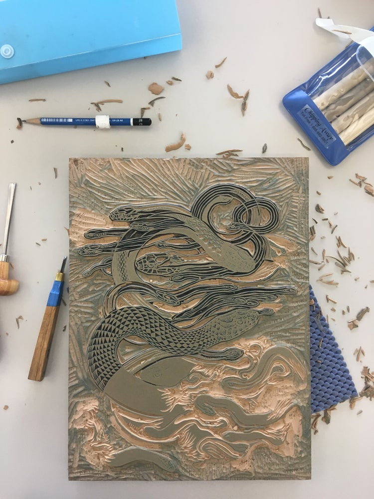 "Image of ""Sky Snakes B"" Linoleum Relief Print"