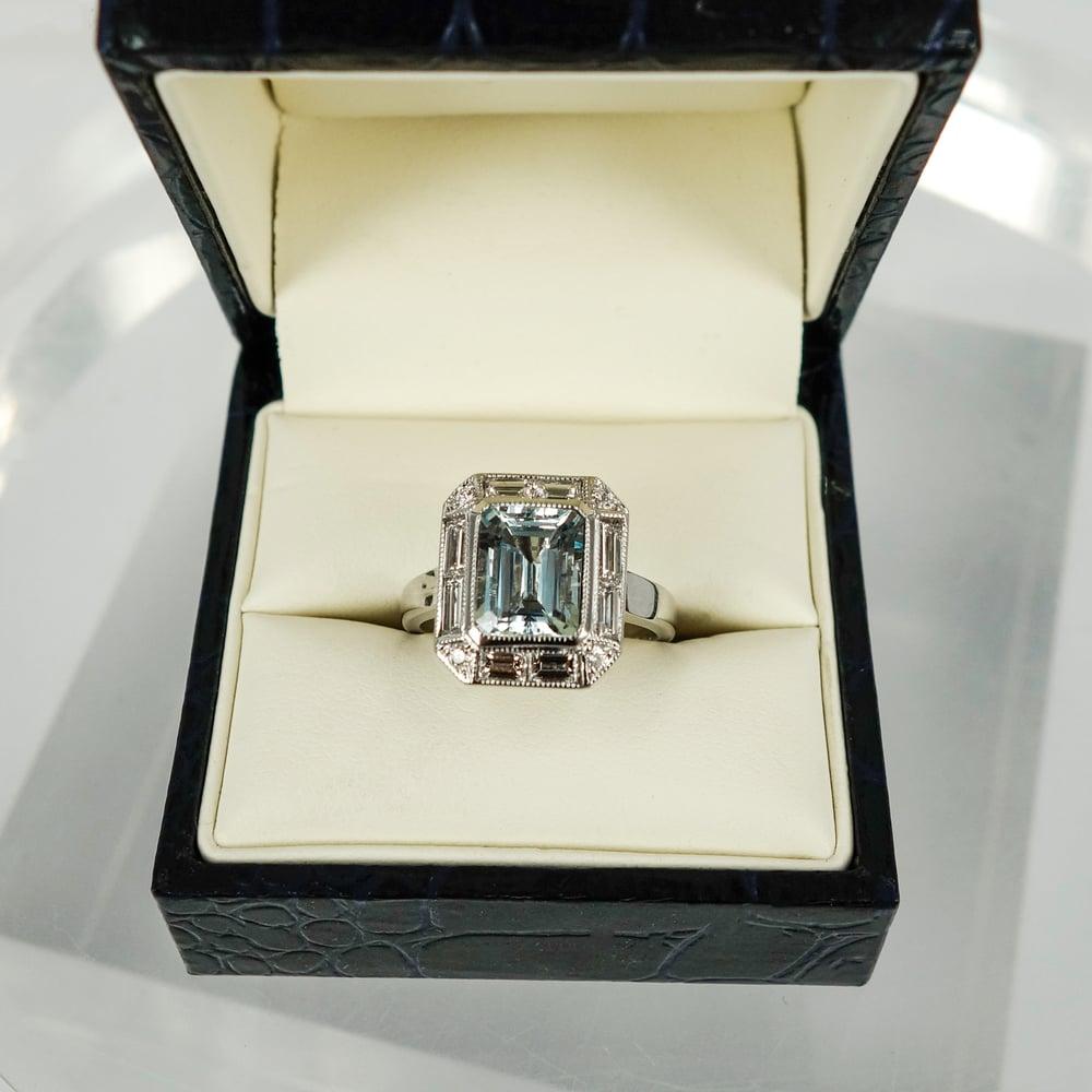 Image of pj5716 Art Deco Design Aquamarine Cocktail Ring