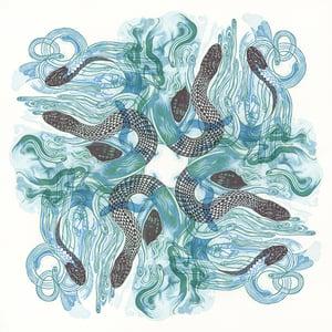 """Sky Snakes C"" Linoleum Relief Print"