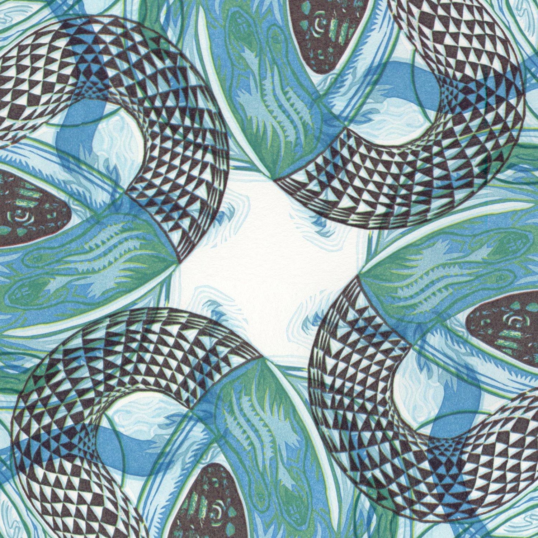 "Image of ""Sky Snakes C"" Linoleum Relief Print"