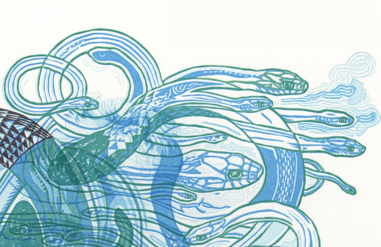 "Image of ""Sky Snakes D"" Linoleum Relief Print"
