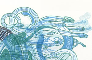 """Sky Snakes D"" Linoleum Relief Print"