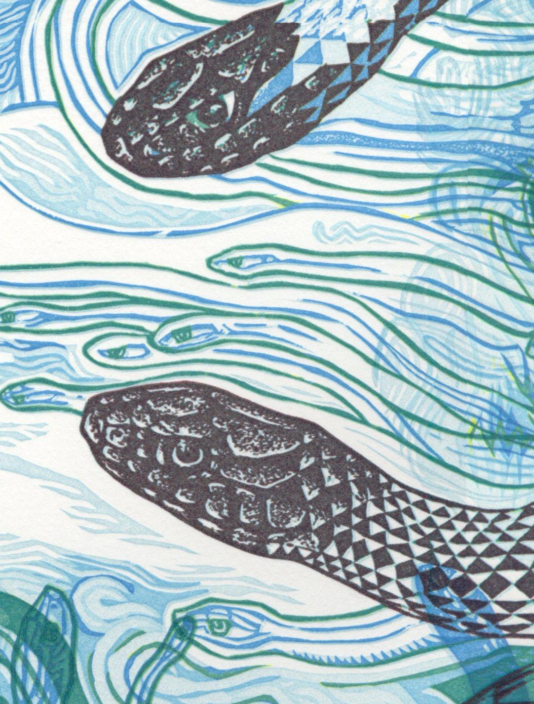 """Image of """"Sky Snakes E"""" Linoleum Relief Print"""