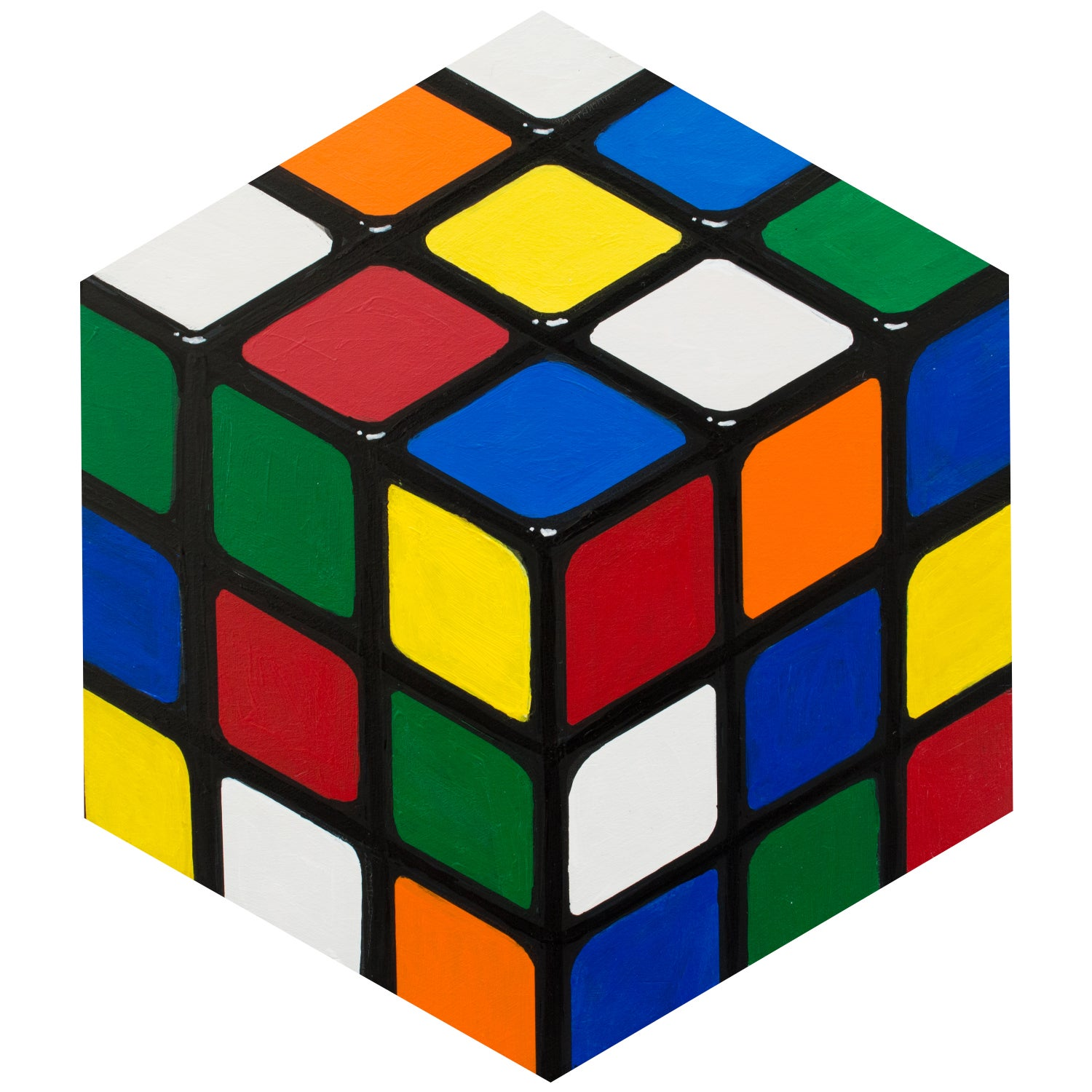 Image of Rubik's cube hexagon painting
