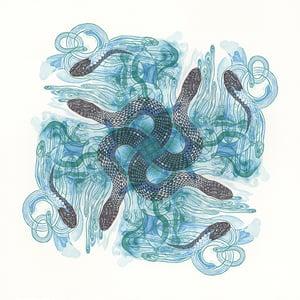 """""""Sky Snakes E"""" Linoleum Relief Print"""
