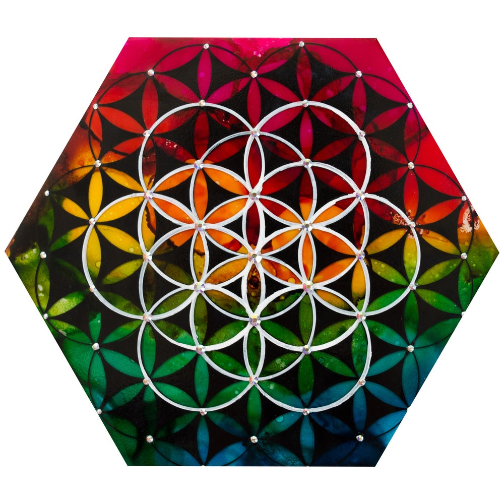 Image of Flower of life hexagon painting