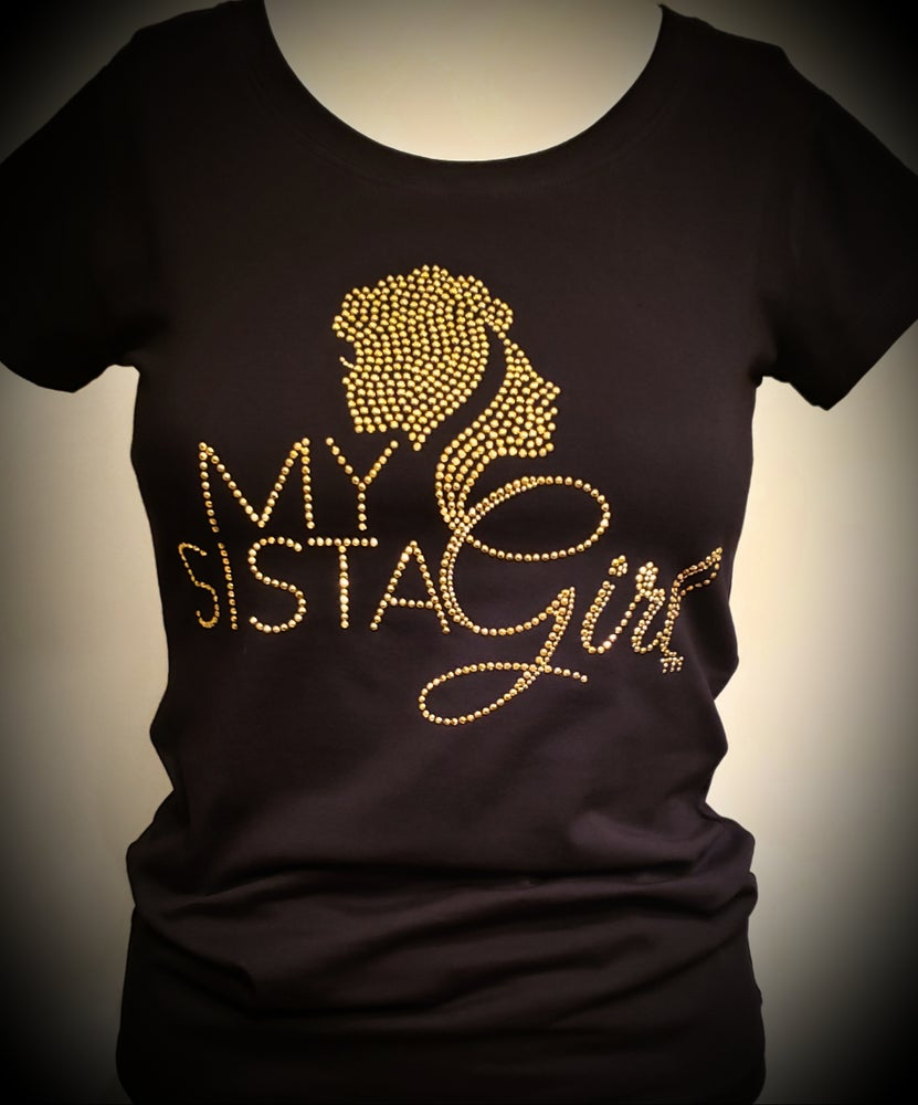 Image of My Sista Girl Bling Tee-Gold
