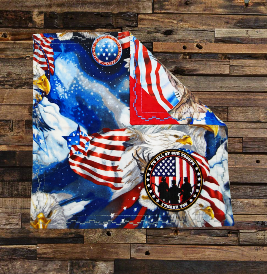 Image of I Thank You Patriotic Patch Handkerchief