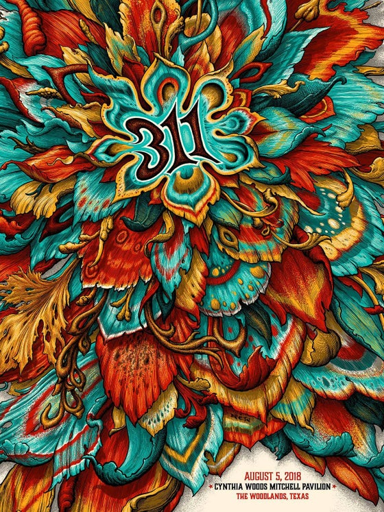 Image of 311 Gig Poster: Artist Variants August 5, Cynthia Woodlands