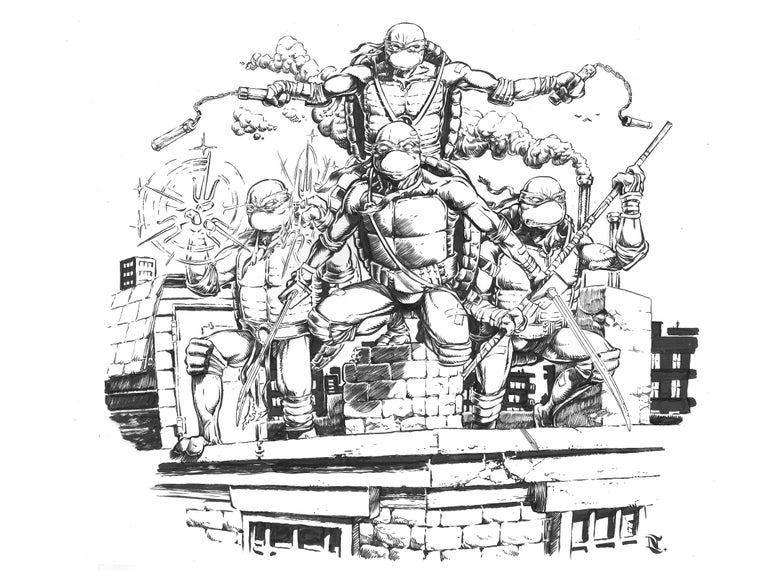 Image of TMNT Ink Drawing