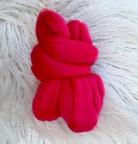 Image of Wool Roving Sold Individually- Hot Pink & Mustard Yellow