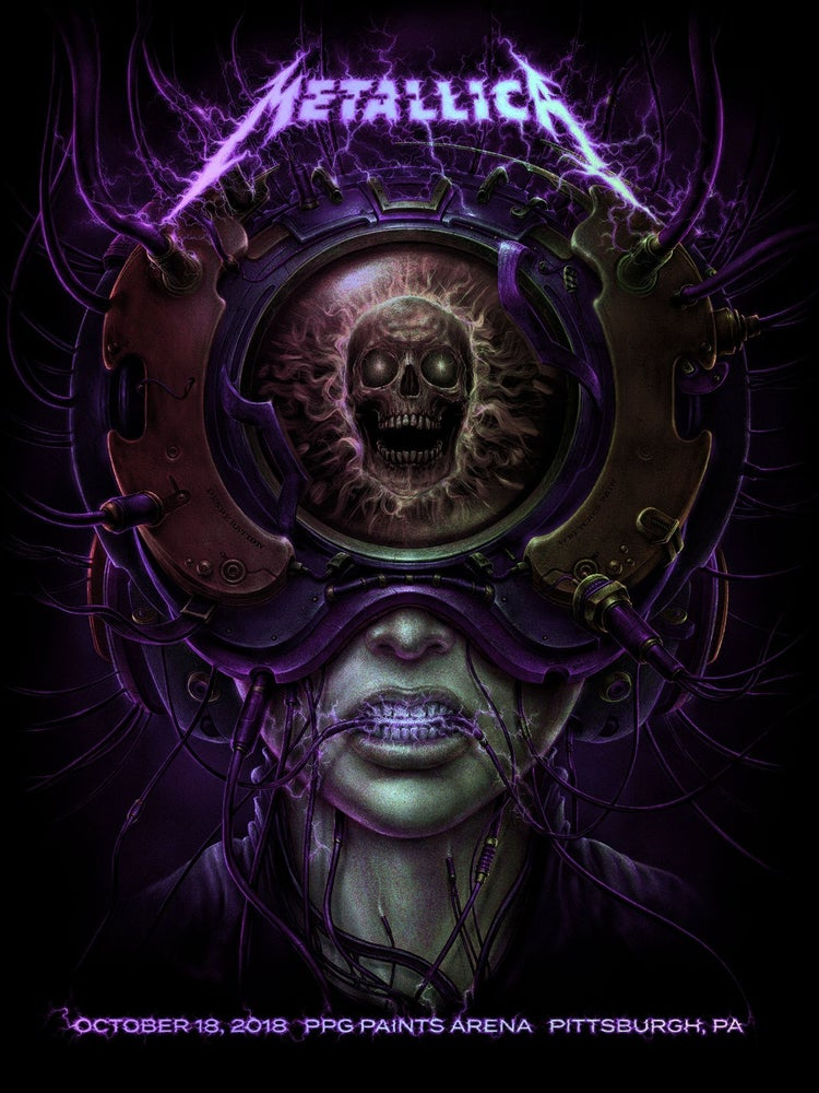 "Image of Metallica October 18, 2018 ""Hard Wired to Self Destruct"" gig poster"