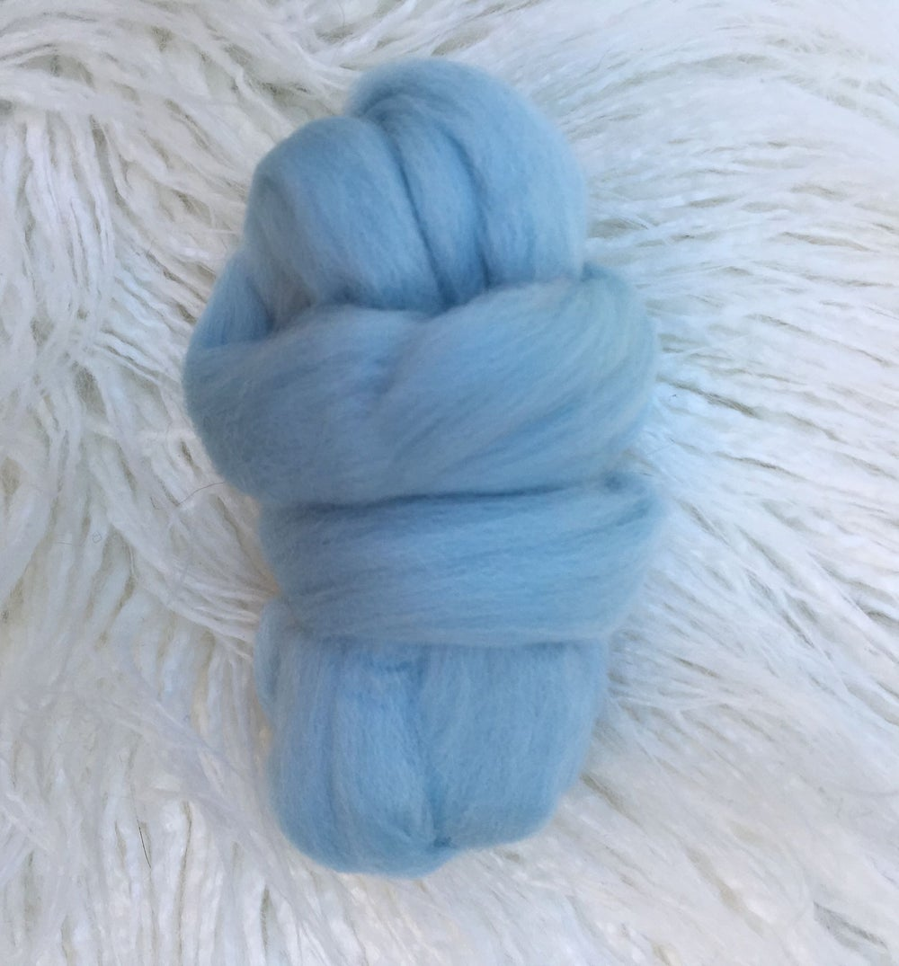 Wool Roving Sold Individually- Off White, Sky Blue, Storm Grey