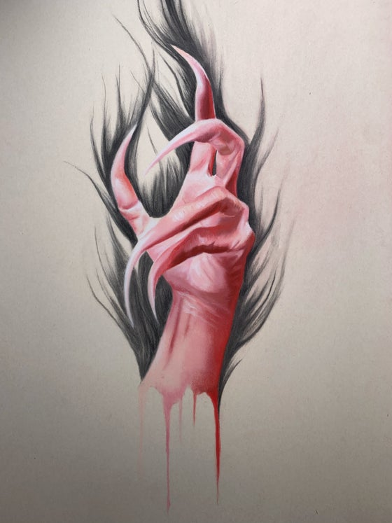 Image of Red severed hand Original pastel drawing