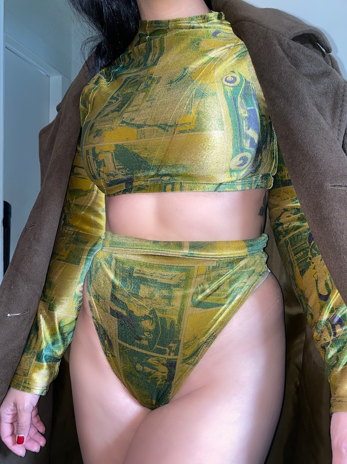 Image of PATTERNED VELVET SET / LONG SLEEVE TOP / BOTTOMS