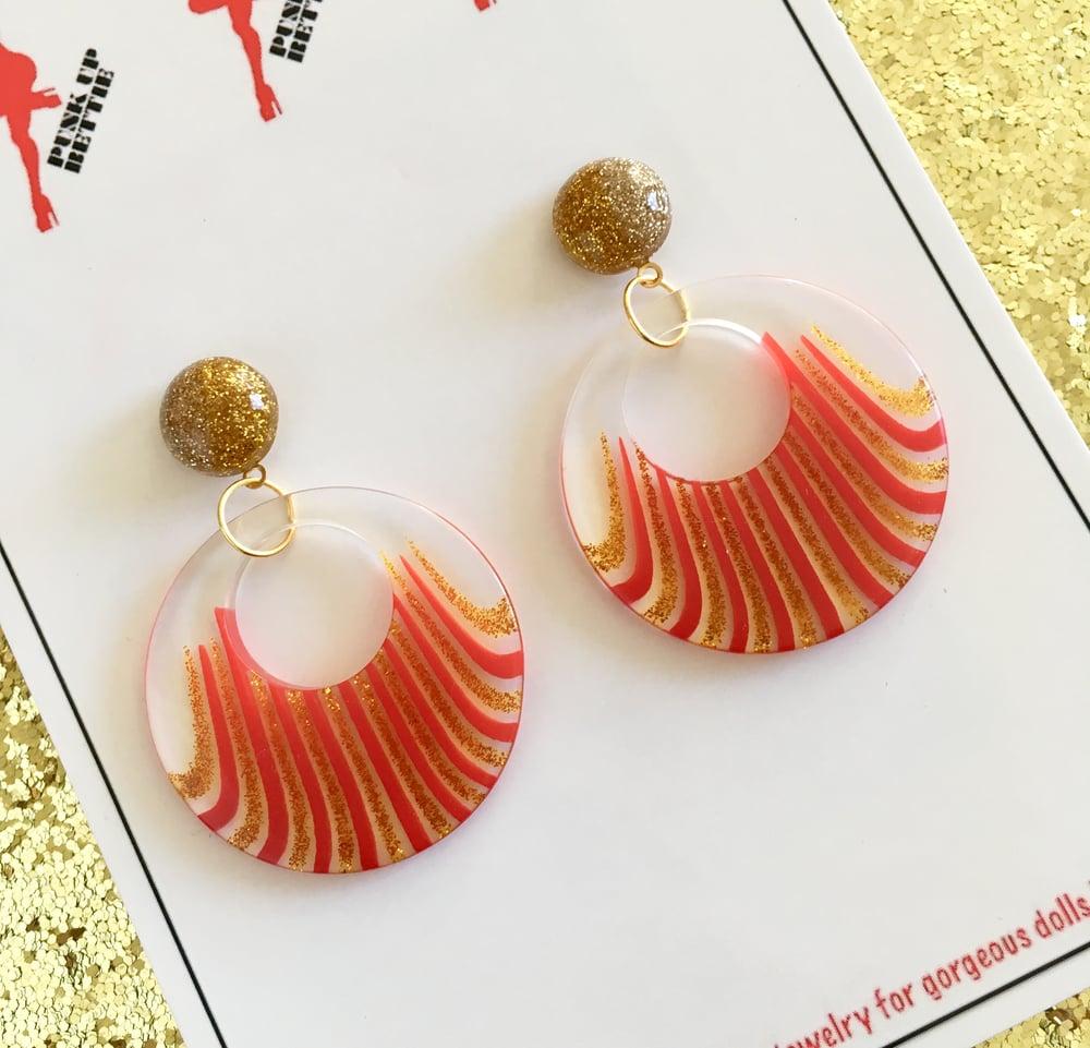 Image of Deco Dolls Delight Hoop Earrings - Red