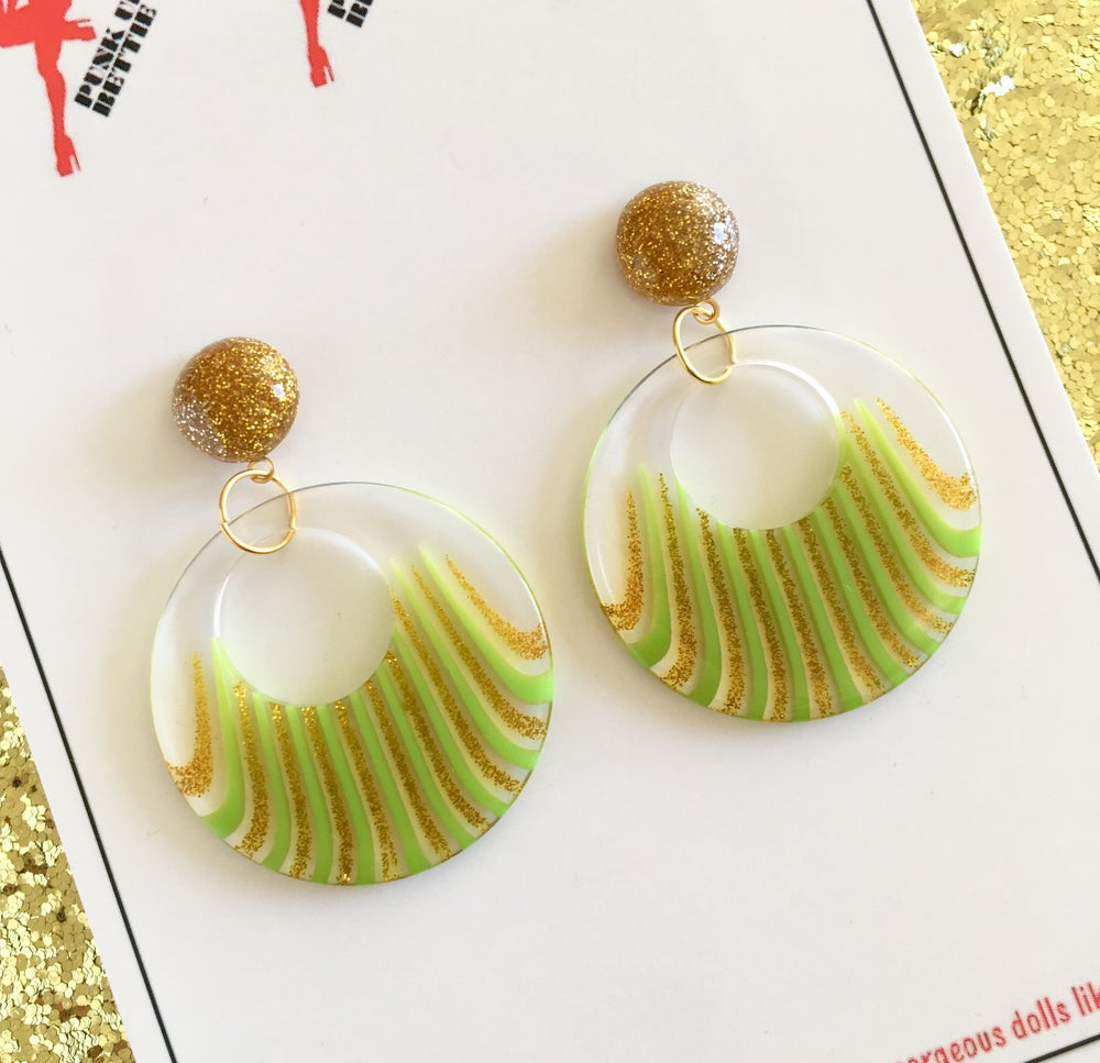 Image of Deco Dolls Delight Hoop Earrings - Green