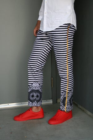 Image of The Kendu tux pants —-black  /white