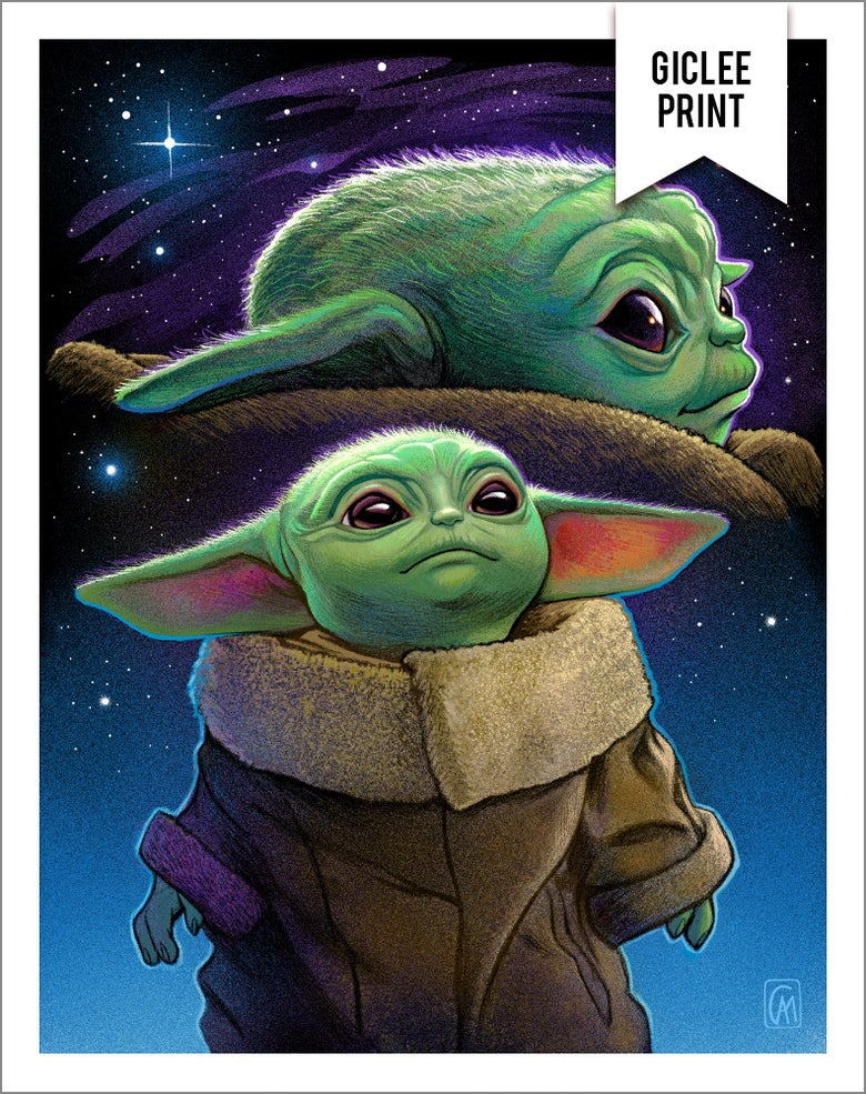 Image of Baby Yoda Double Exposure Portrait - Giclée - 11x14