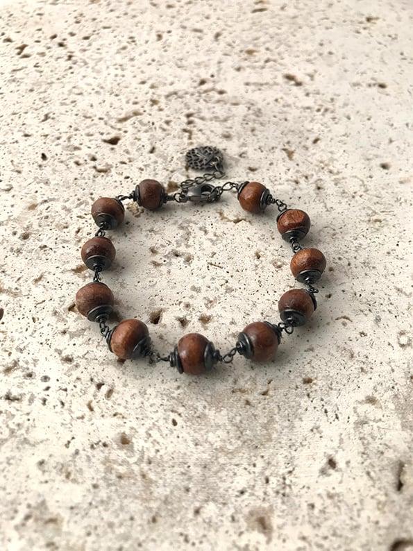 Image of Bracelet chaîne en bois MYSTIC