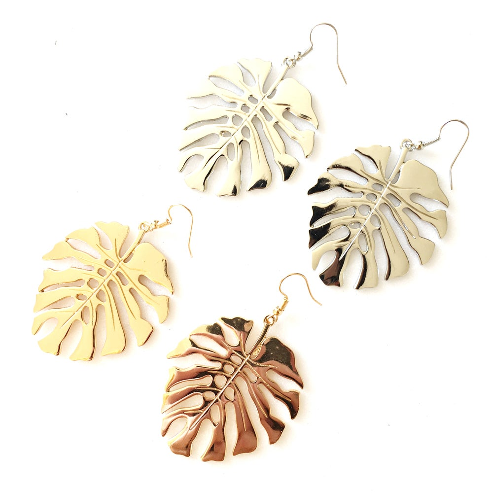 Image of Statement Monstera Cheeseplant Leaf Earrings