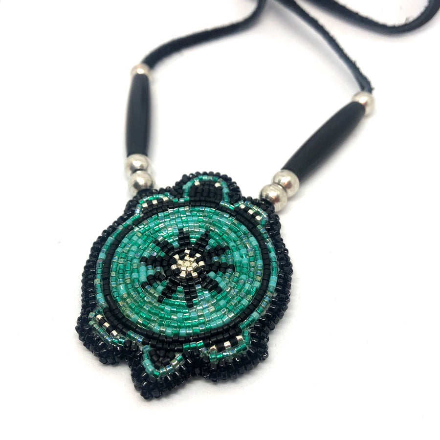Image of Beaded Mikinaak Pendant (Waters)