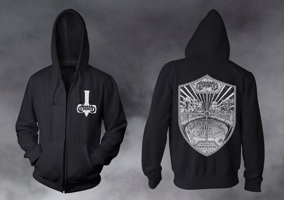Image of Guardian Of Heaviness Zip Up Hoodie w/ White Print