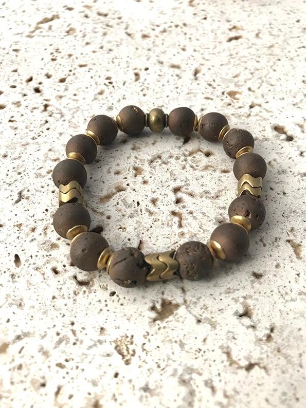 Image of Bracelet élastique grosses pierres chocolat WILD WEST