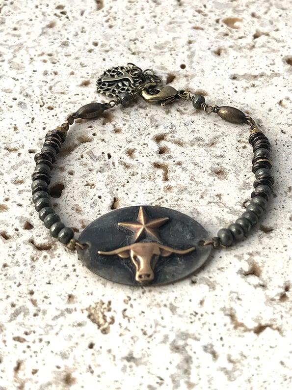 Image of Bracelet médaille tête de buffle WILD WEST