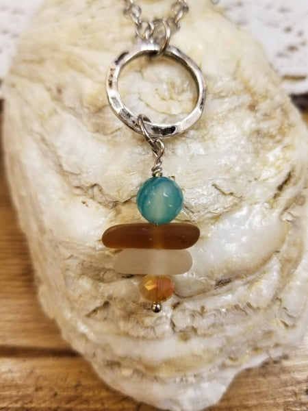 Image of Sea Glass- Agate- Crystals- Necklace- #266