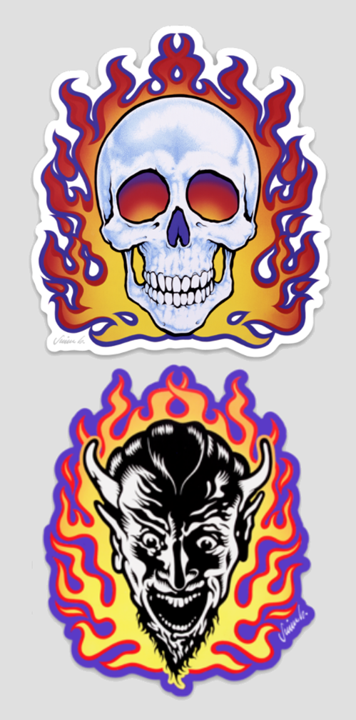 Image of FLAMING SKULL & DEVIL die cut sticker set