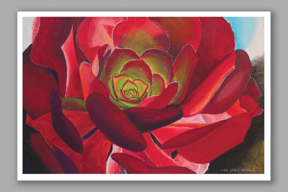 Image of Red Succulent card