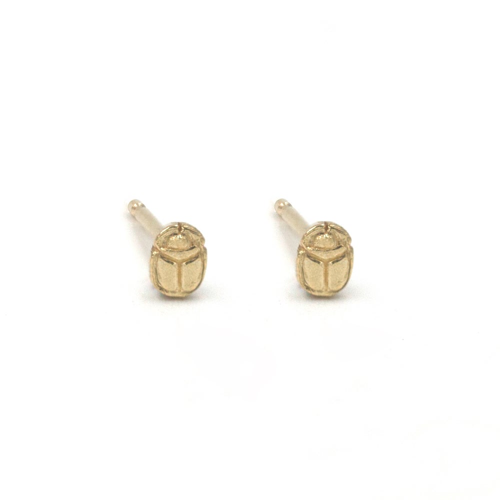 Scarab Seed Studs 14k