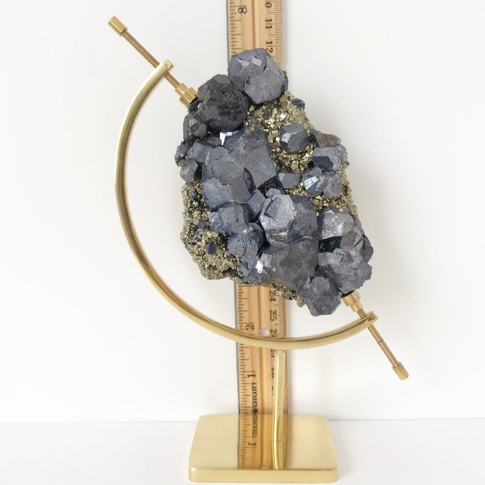 Image of Galena and Pyrite no.16 + Brass Arc Stand