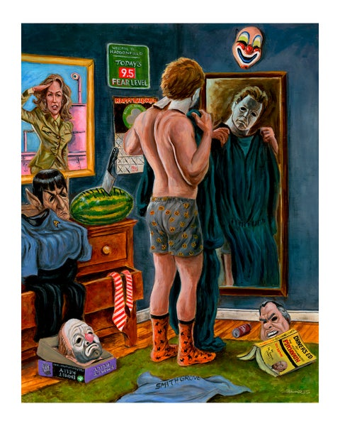"Image of ""Getting Ready for the Big Night"" Print (tribute to John Carpenter's ""Halloween"")"
