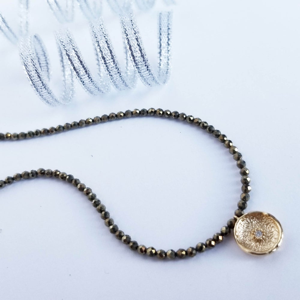 Image of Golden Pyrite Coin Necklace