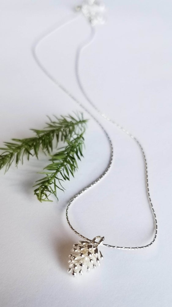 Image of Simple Silver Pine Cone Necklace