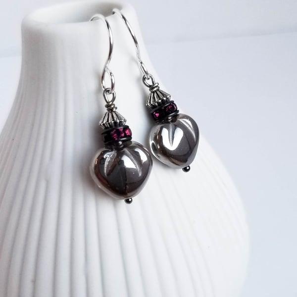 Image of Pewter Heart Earrings