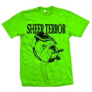 "Image of SHEER TERROR ""Bulldog Style"" Safety Green T-Shirt"