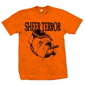 "Image of SHEER TERROR ""Bulldog Style"" Safety Orange T-Shirt"