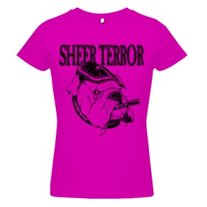 "Image of SHEER TERROR ""Bulldog Style"" Pink Girlie Shirt"