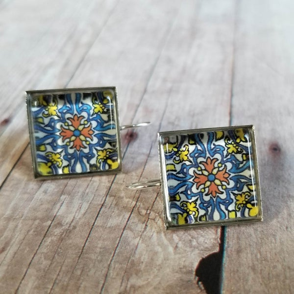 Image of Mexican Talavera Earrings (Blue Orange Yellow)