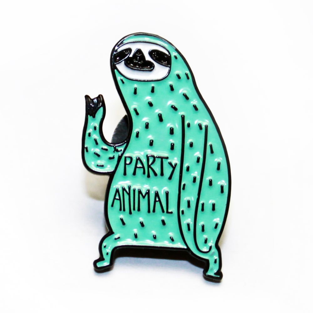 Image of party animal sloth pin